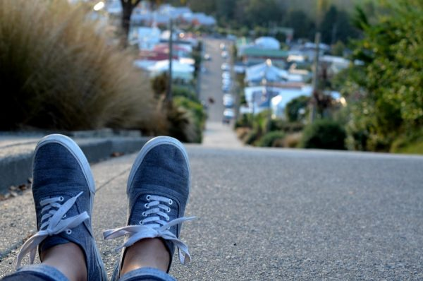 Reaching the top of the World's Steepest Street - Dunedin, New Zealand
