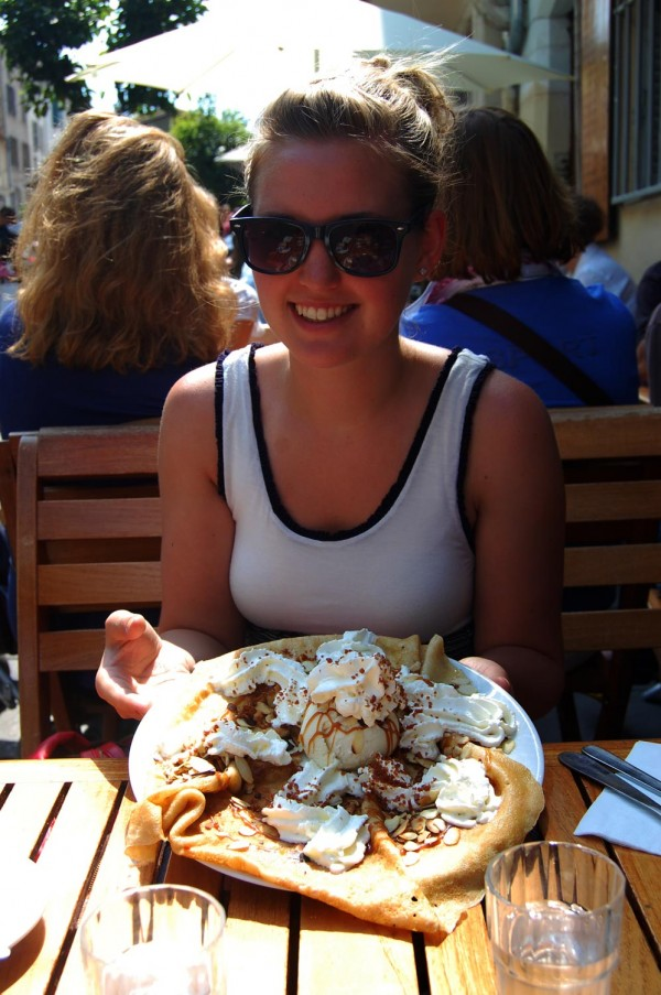 Enjoying a crepe - Antibes, France